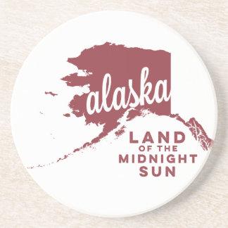 alaska   land of the midnight sun   apple red drink coaster