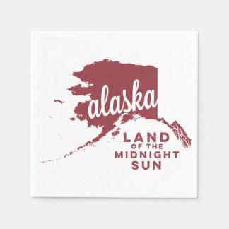 alaska   land of the midnight sun    apple red paper napkin