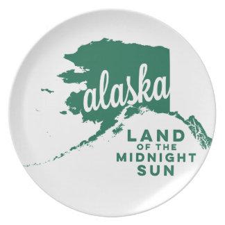 alaska | land of the midnight sun  | green melamine plate