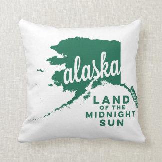 alaska   land of the midnight sun    green throw pillow