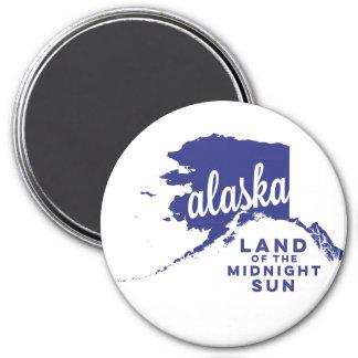 alaska | land of the midnight sun  | violet 3 inch round magnet