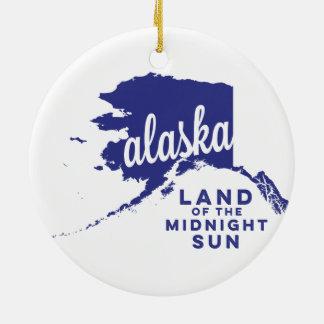 alaska   land of the midnight sun    violet ceramic ornament