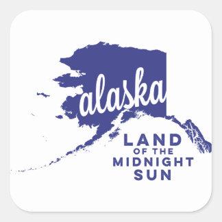 alaska   land of the midnight sun    violet square sticker