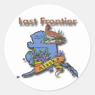 Alaska Last Frontier bird flower Round Sticker