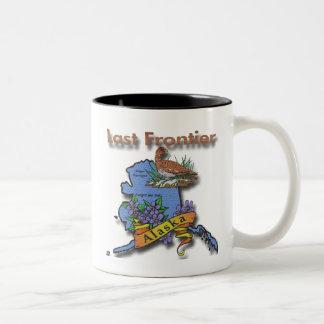 Alaska Last Frontier bird flower Two-Tone Coffee Mug