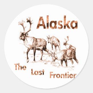 Alaska Last Frontier Moose Elk Classic Round Sticker