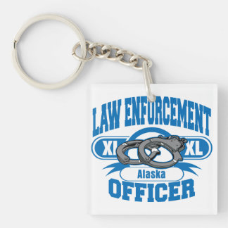 Alaska Law Enforcement Officer Handcuffs Single-Sided Square Acrylic Keychain