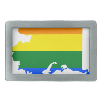Alaska LGBT Flag Map Belt Buckle
