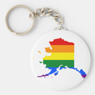 Alaska LGBT Flag Map Keychain