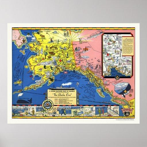 Alaska - línea de buque de vapor mapa 1934 poster