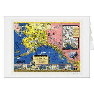 Alaska - línea de buque de vapor mapa 1934 tarjeta de felicitación