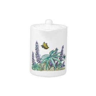Alaska Lupine Watercolor Tea Pot