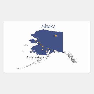 Alaska Map and Flag Rectangular Sticker