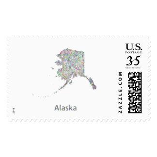 Alaska map stamps