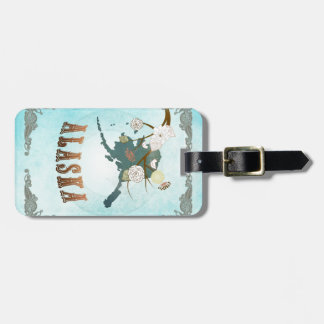 Alaska Map With Lovely Birds Luggage Tag