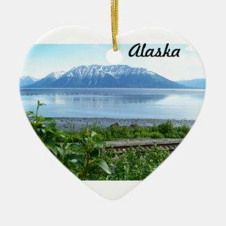 Alaska Mountain along Turnagain Arm Double-Sided Heart Ceramic Christmas Ornament
