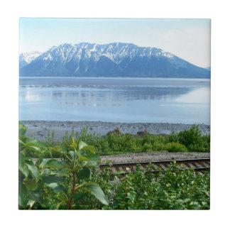 Alaska Mountain along Turnagain Arm Small Square Tile