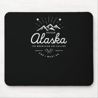 Alaska Mountains are Calling I Must Go Mono Dark Mouse Pad