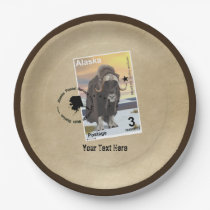 Alaska Muskox Postage Stamp Souvenir Paper Plate