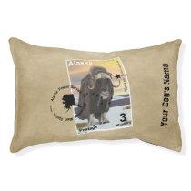 Alaska Muskox Postage Stamp Souvenir Pet Bed