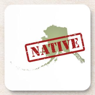 Alaska Native with Alaska Map Beverage Coaster