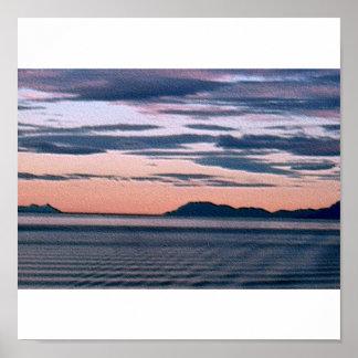 Alaska Ocean at Sunset Poster