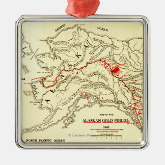 Alaska Panoramic Map Metal Ornament