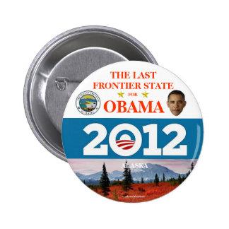 ALASKA para el butto político del pinback de Obama Pin Redondo De 2 Pulgadas