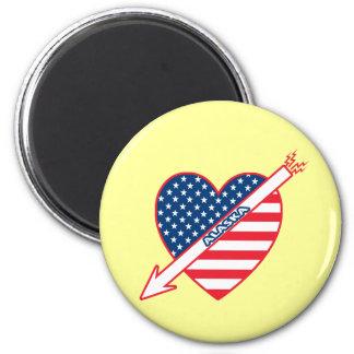 Alaska Patriot Flag Heart 2 Inch Round Magnet