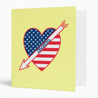 Alaska Patriot Flag Heart 3 Ring Binder