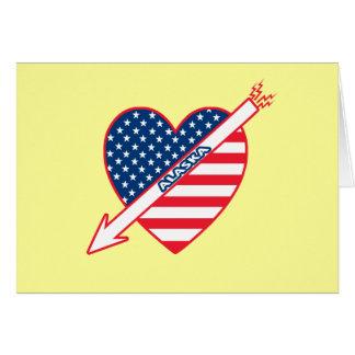 Alaska Patriot Flag Heart Card