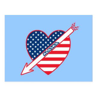 Alaska Patriot Flag Heart Postcard