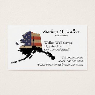 USA Themed Alaska Patriotic Oil Drilling Rig Business Card