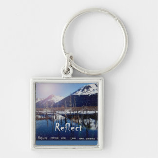 Alaska perfect reflection mountains and ocean keyc Silver-Colored square keychain