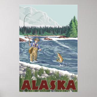 Alaska - pescador de la mosca póster