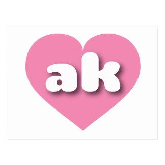 Alaska pink heart - mini love postcard