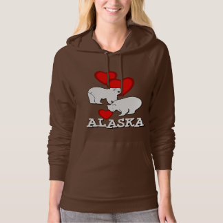 Alaska Polar Bears Red Hearts Brown Hoodie