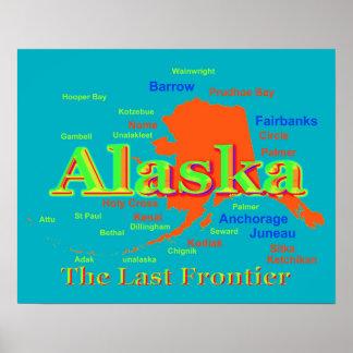 Alaska Pride Map Silhouette Poster
