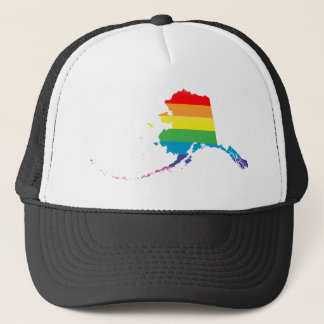 alaska pride. striped. trucker hat