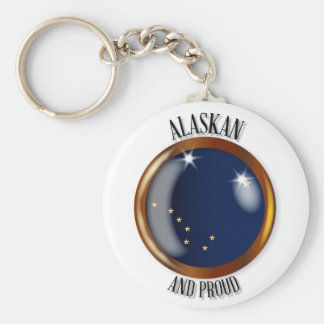 Alaska Proud Flag Button Keychain