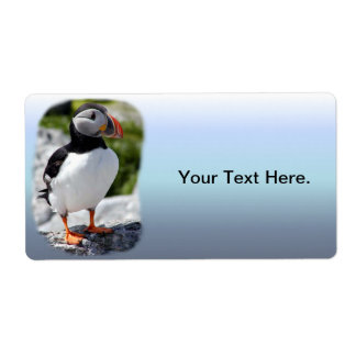 Alaska Puffins Feathered Colorful Birds Label