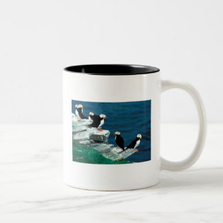 Alaska Puffins Feathered Colorful Birds Two-Tone Coffee Mug