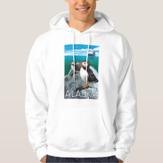 Alaska - Puffins watching a Cruise Ship Hooded Pullover
