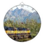 Alaska Railroad locomotive engine & mountains Dartboard With Darts