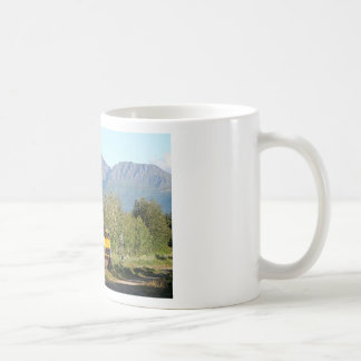 Alaska Railroad locomotive engine & mountains Coffee Mugs