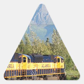 Alaska Railroad locomotive engine & mountains Triangle Sticker