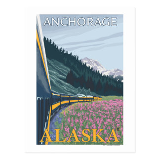 Alaska Railroad Scene - Anchorage, Alaska Postcard