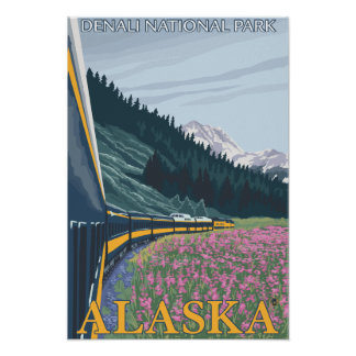Alaska Railroad Scene - Denali Nat'l Park, Alask Poster