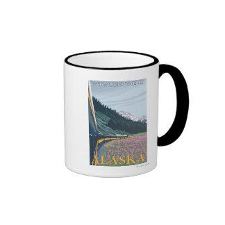 Alaska Railroad Scene - Matanuska Valley, Alaska Coffee Mug