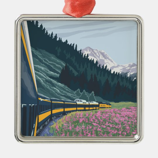 Alaska Railroad Scene - Wasilla, Alaska Metal Ornament